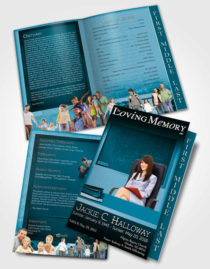 2 Page Graduated Step Fold Funeral Program Template Brochure Ocean Blue Teacher Dark