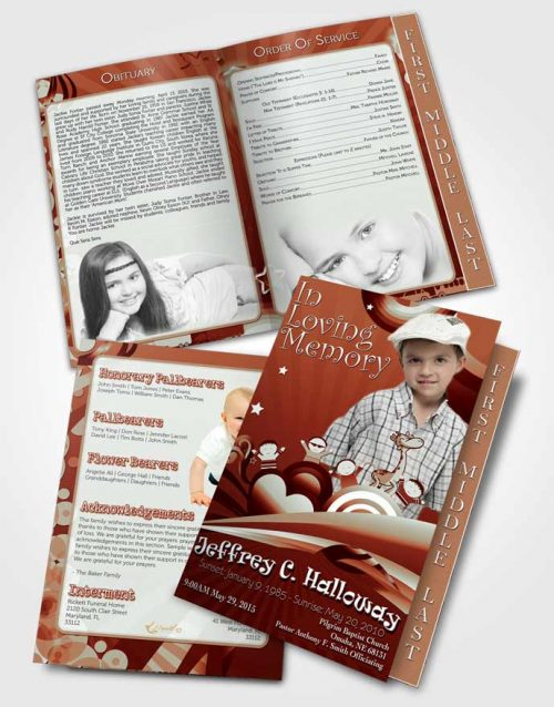 2 Page Graduated Step Fold Funeral Program Template Brochure Red Laughter Childs Journey