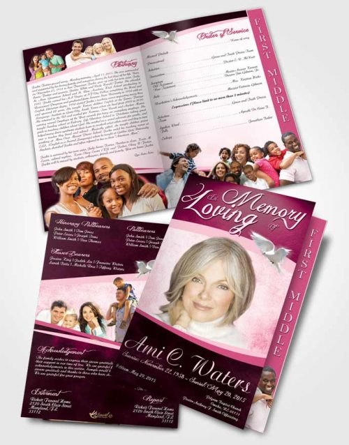 2 Page Graduated Step Fold Funeral Program Template Brochure Rosy Paradise