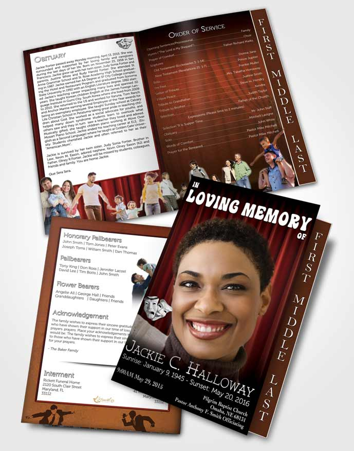2 Page Graduated Step Fold Funeral Program Template Brochure Ruby Actor
