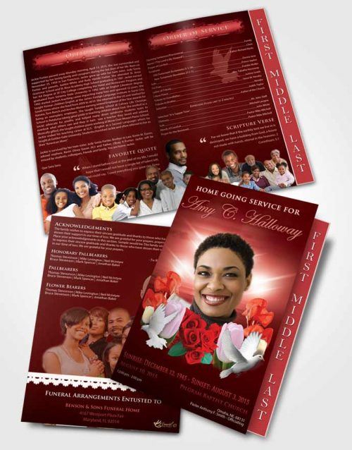 2 Page Graduated Step Fold Funeral Program Template Brochure Ruby Delightful Doves