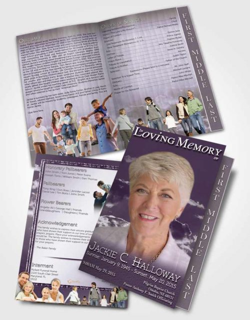 2 Page Graduated Step Fold Funeral Program Template Brochure Shinning Lavender Clouds