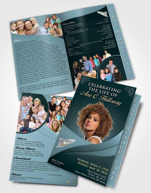 2 Page Graduated Step Fold Funeral Program Template Brochure Soft Emerald Love Magnificence