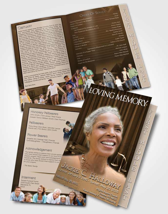2 Page Graduated Step Fold Funeral Program Template Brochure Soft Judge Justice