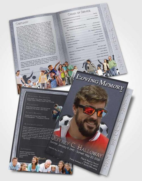 2 Page Graduated Step Fold Funeral Program Template Brochure Summer Breeze Soccer Star