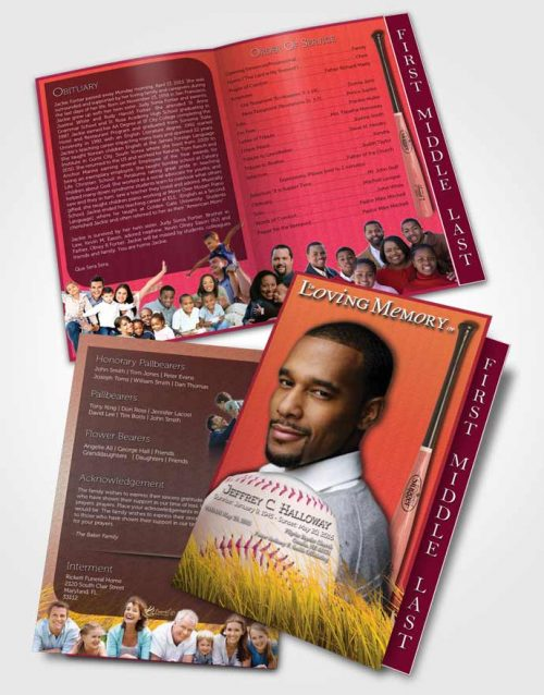 2 Page Graduated Step Fold Funeral Program Template Brochure Summer Ruby Baseball Star Dark