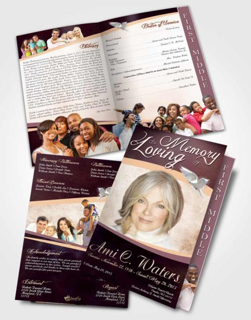 2 Page Graduated Step Fold Funeral Program Template Brochure Sweet Paradise