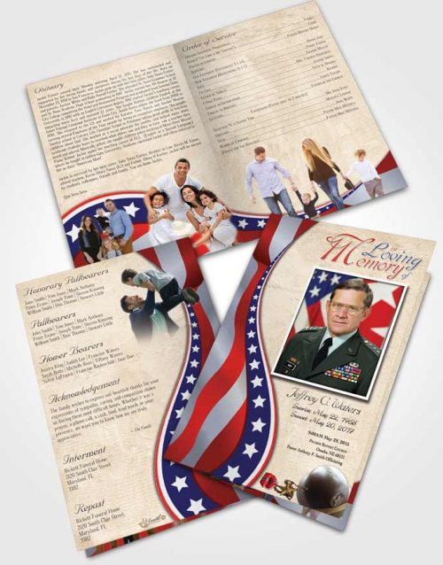 Bifold Order Of Service Obituary Template Brochure Cheerful Military Honors