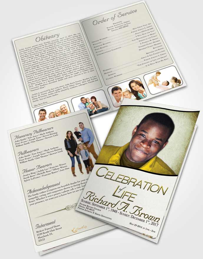 Bifold Order Of Service Obituary Template Brochure Urban Bliss