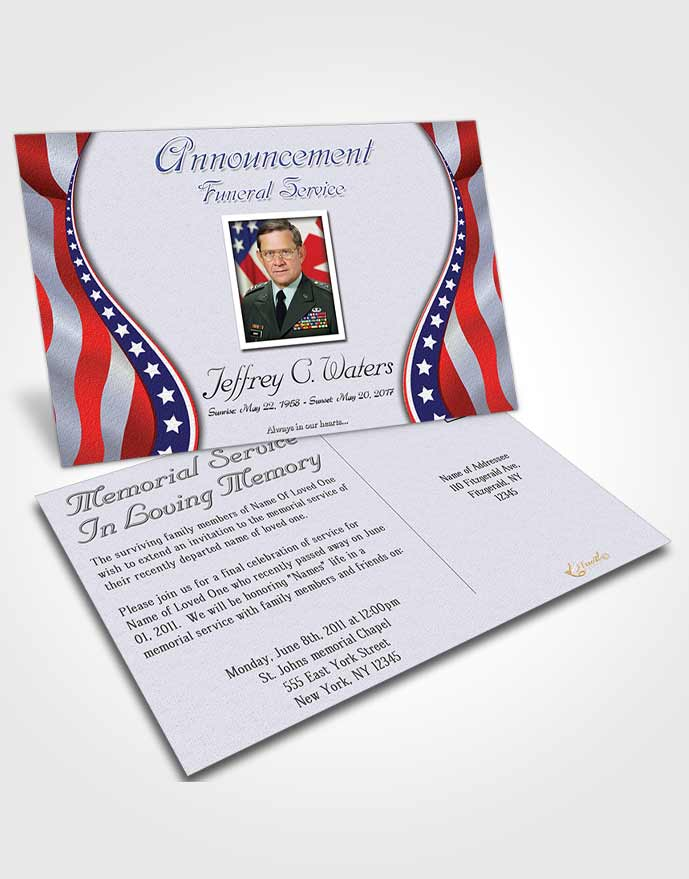 Funeral Announcement Card Template Loving Military Honors