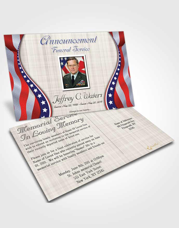Funeral Announcement Card Template Sweet Military Honors