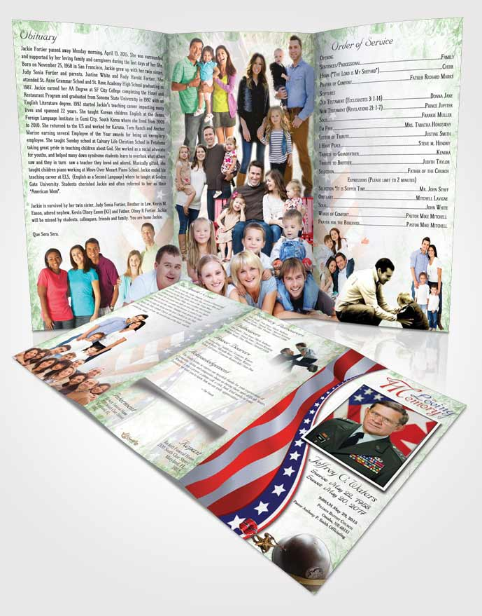 Obituary Template Trifold Brochure Evening Military Honors