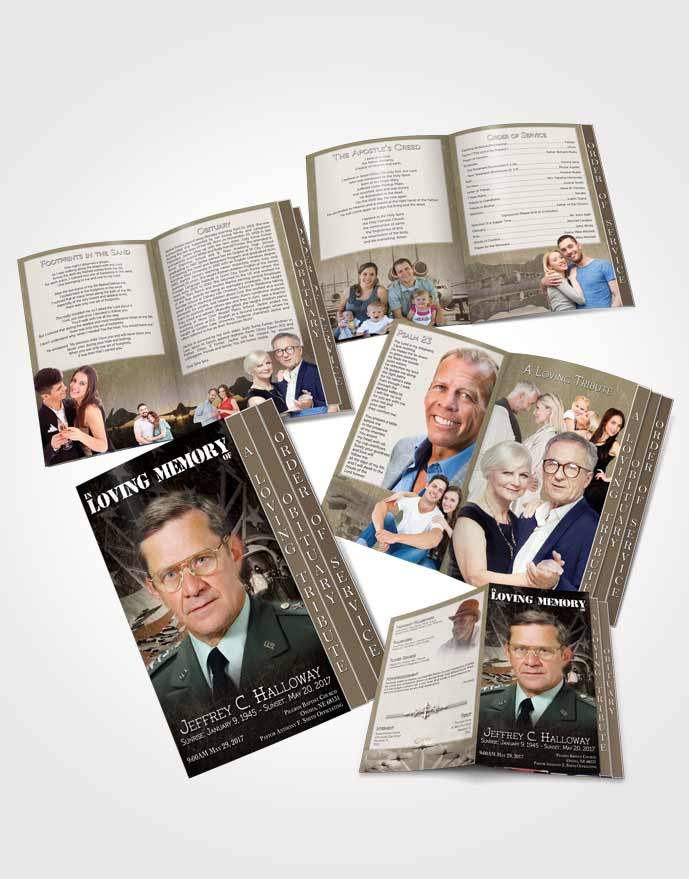 4 Page Grad Obituary Template Brochure Air Force Golden Salute