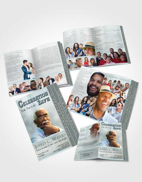 4 Page Grad Obituary Template Brochure Autumn Peace Timeless Love