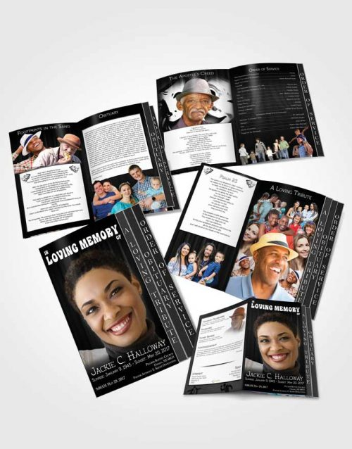 4 Page Grad Obituary Template Brochure Black and White Actor