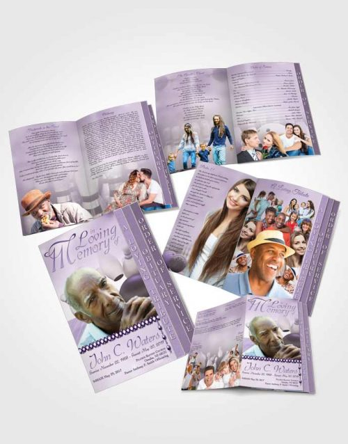 4 Page Grad Obituary Template Brochure Bowling Days Lavender Honor