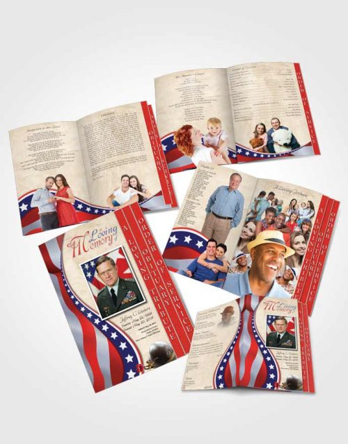 4 Page Grad Obituary Template Brochure Cheerful Military Honors
