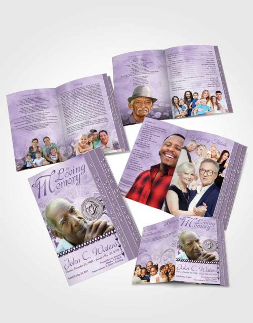 4 Page Grad Obituary Template Brochure Collecting Stamps and Coins Lavender Honor