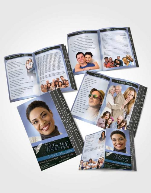4 Page Grad Obituary Template Brochure Divine Essence Soft Blue Heritage