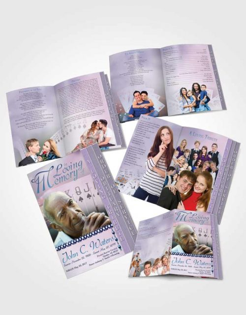 4 Page Grad Obituary Template Brochure Early Morning Cards