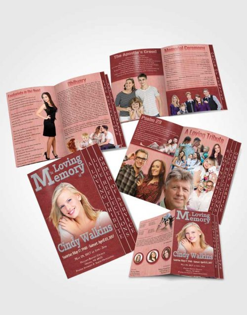 4 Page Grad Obituary Template Brochure Elegant Love Summer Ruby