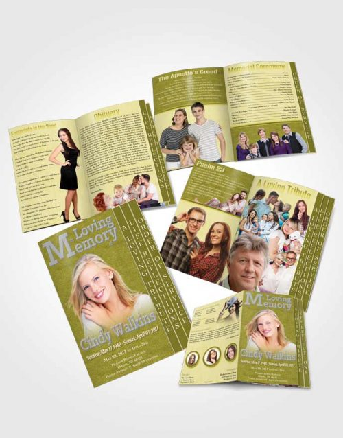4 Page Grad Obituary Template Brochure Elegant Love Woodland Spirit