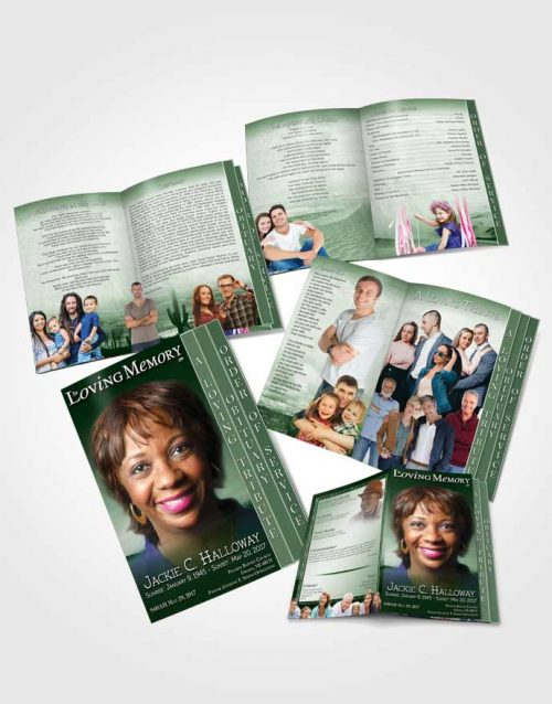 4 Page Grad Obituary Template Brochure Emerald Desert Sky