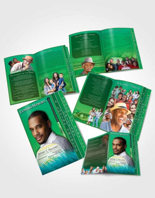 4 Page Grad Obituary Template Brochure Forest Magic Baseball Star Dark