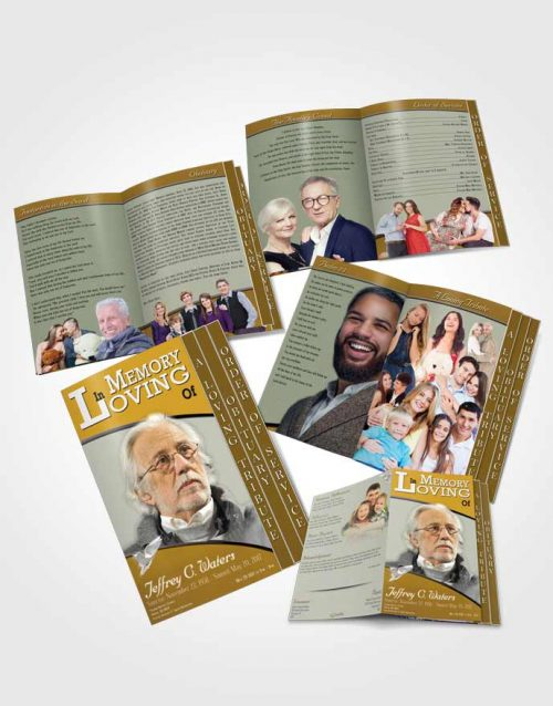 4 Page Grad Obituary Template Brochure Golden Clarity