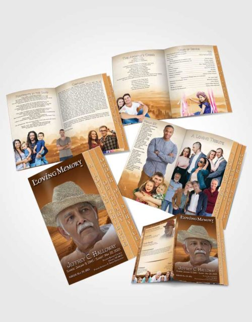 4 Page Grad Obituary Template Brochure Golden Misty Mountain
