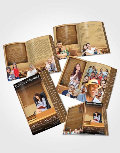 4 Page Grad Obituary Template Brochure Golden Teacher Dark