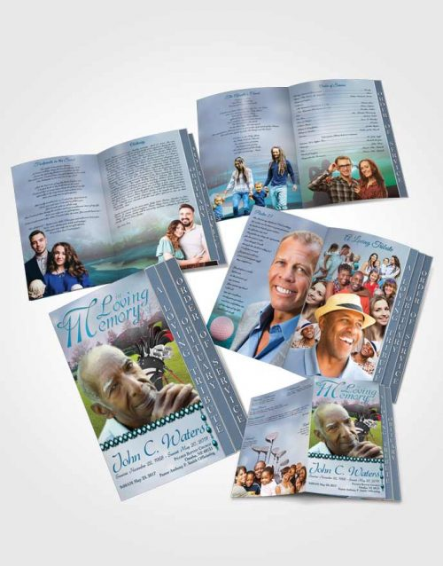4 Page Grad Obituary Template Brochure Golfing Day Ocean Breeze