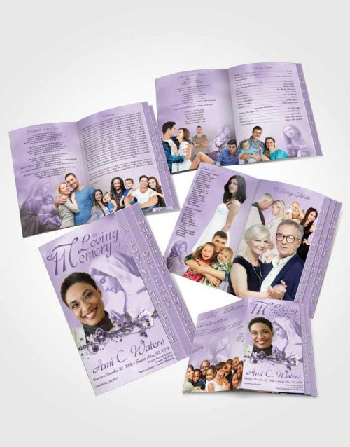 4 Page Grad Obituary Template Brochure Hail Mary Lavender Honor