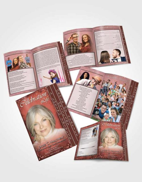4 Page Grad Obituary Template Brochure Heavens Touch Soft Ruby