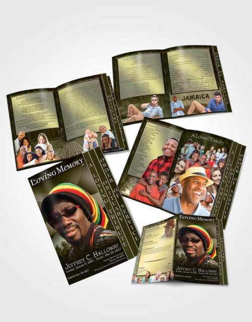4 Page Grad Obituary Template Brochure Jamaican Black and White Beauty
