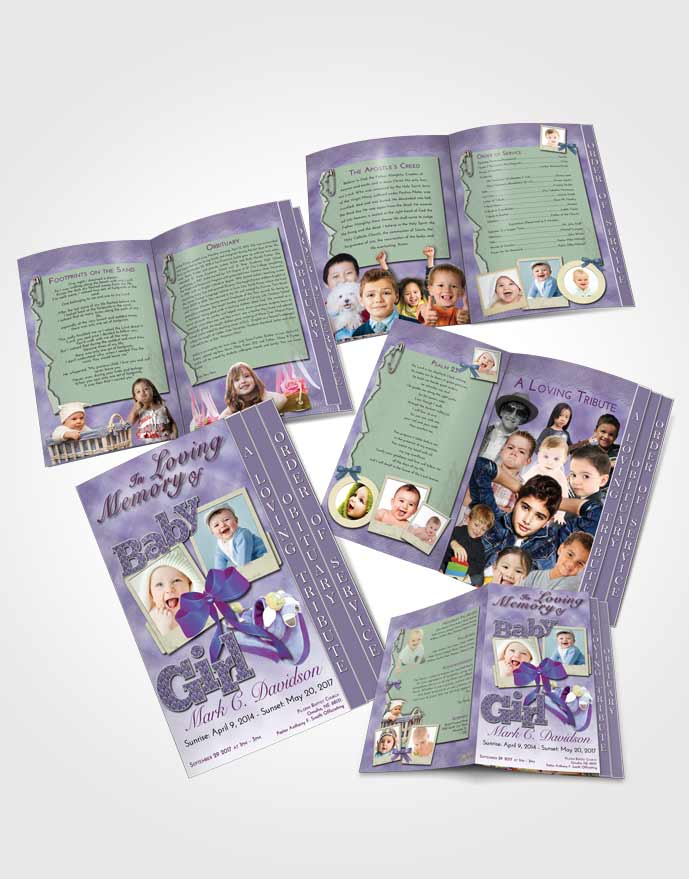 4 Page Graduated Step Fold Obituary Template Brochure Lavender Beauty Baby Girl