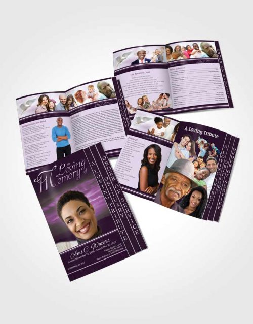 4 Page Grad Obituary Template Brochure Lavender Higher Power