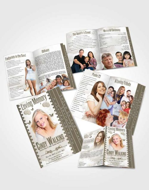 4 Page Grad Obituary Template Brochure Natural Elegance Soft Vanilla