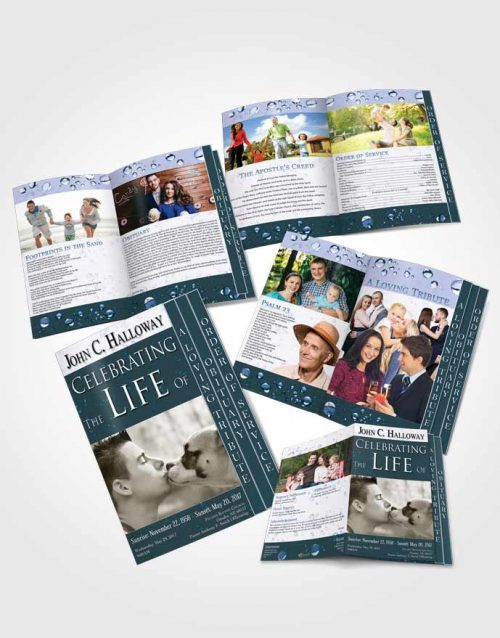 4 Page Grad Obituary Template Brochure Oceans Enchantment