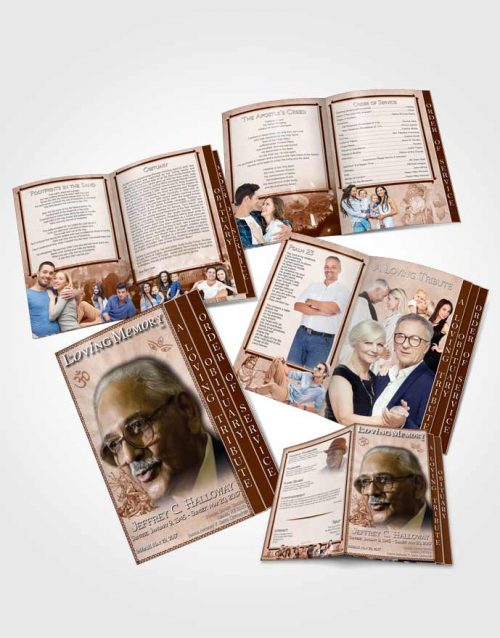 4 Page Grad Obituary Template Brochure Peach Hindu Faith