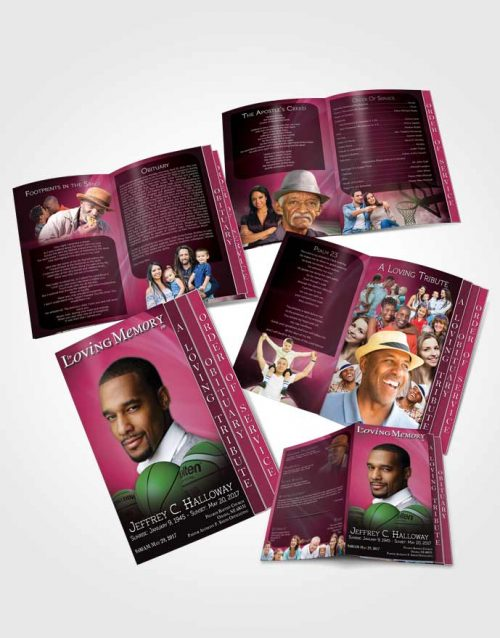 4 Page Grad Obituary Template Brochure Pink Basketball Lover Dark