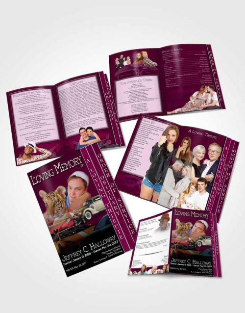 4 Page Grad Obituary Template Brochure Pink Desire Car Enthusiast