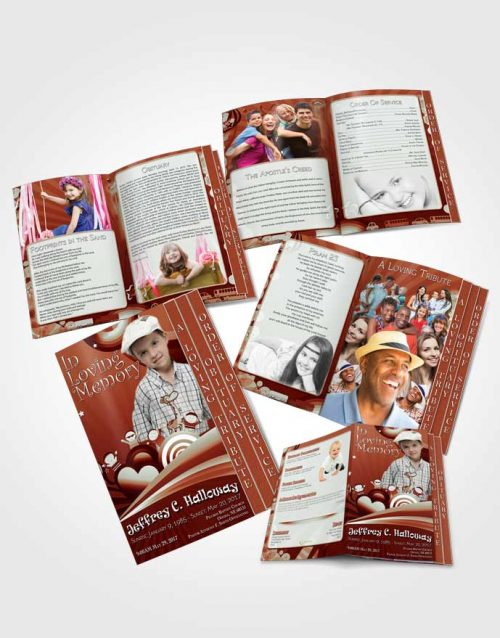 4 Page Graduated Step Fold Obituary Template Brochure Red Laughter Childs Journey