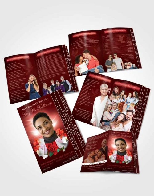 4 Page Grad Obituary Template Brochure Ruby Delightful Doves