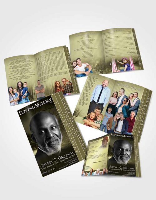 4 Page Grad Obituary Template Brochure Rustic Winter Breeze