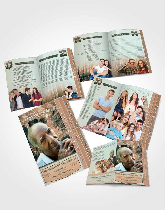 4 Page Grad Obituary Template Brochure Serenity Forest Laughter