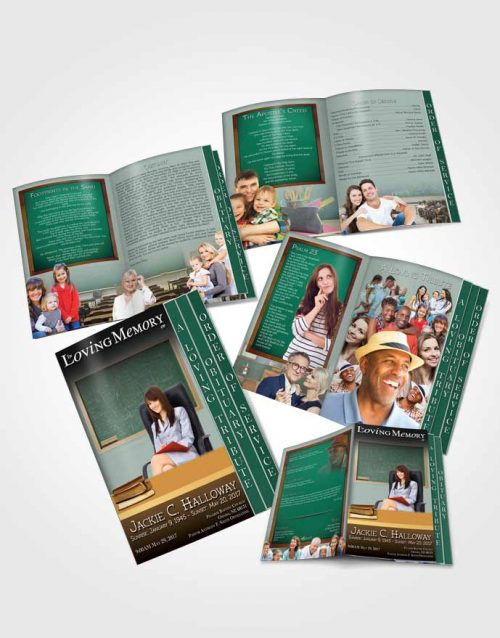 4 Page Grad Obituary Template Brochure Summer Forest Teacher Dark