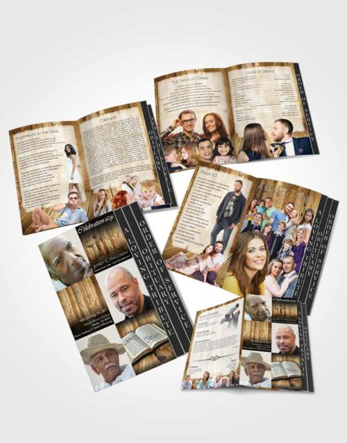 4 Page Grad Obituary Template Brochure Summer Hardwood Coolness
