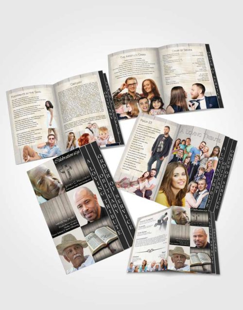 4 Page Grad Obituary Template Brochure Summer Hardwood Desire