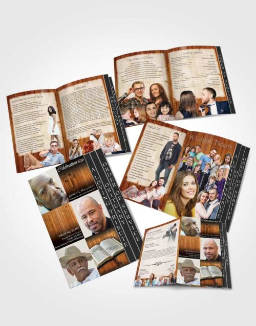 4 Page Grad Obituary Template Brochure Summer Hardwood Faith